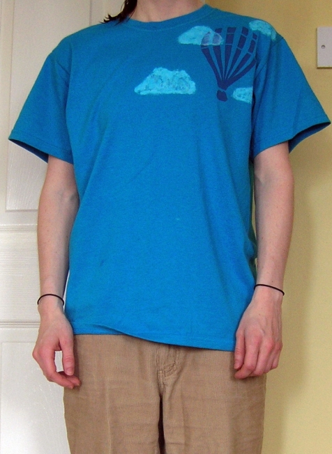 Stencilled shirt with hot air balloon