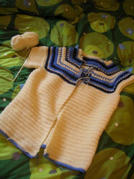 Handmade crochet Icelandic cardigan in blues and cream.