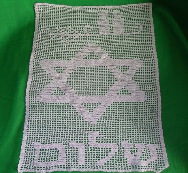 Handmade challah cover in filet crochet