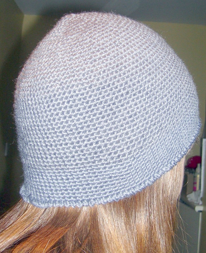 Simple handmade grey crochet beanie hat