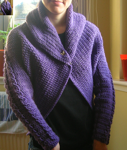 purple crochet cabled shrug