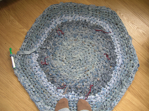Handmade crochet rag rug from denim jeans