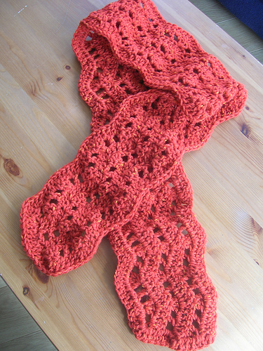 Handmade crochet ripple scarf in orange; 100% pure wool from New Lanark mill in Scotland