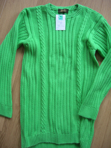 Green cotton sweater