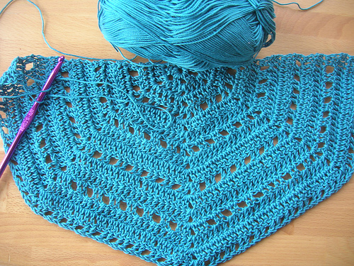 Handmade crochet shawl in teal cotton; Eva's Shawl pattern.