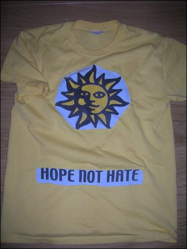 Two t-shirts to be upcycled into one. Hope Not Hate. | Riotflower's Realm.