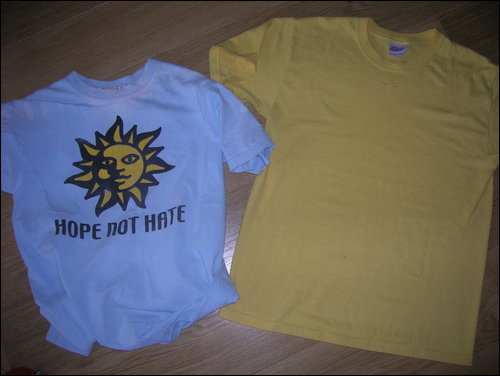 Two t-shirts to be upcycled into one