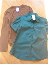 brown and teal shirts