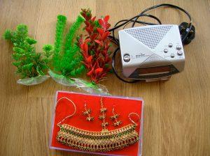 plants, radio, necklace