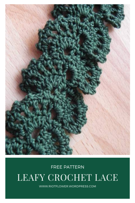 Leafy crochet lace embellishment for clothing and homewares