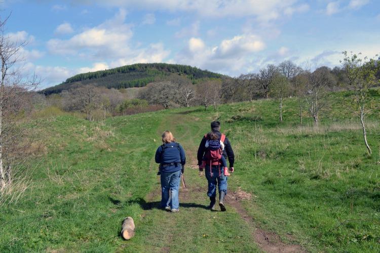Hiking on path at Auchengarrich Wildlife Park