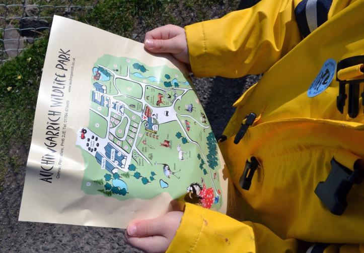 Child holds map of Auchingarrich Wildlife park