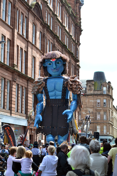 Blue Man Walking at Merchant City Festival, Glasgow