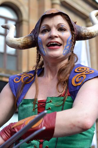 Viking on stilts performer at Merchant City Festival, Glasgow
