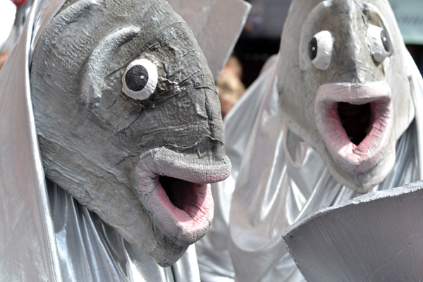 Fish masks and costumes at Merchant City Festival, Glasgow