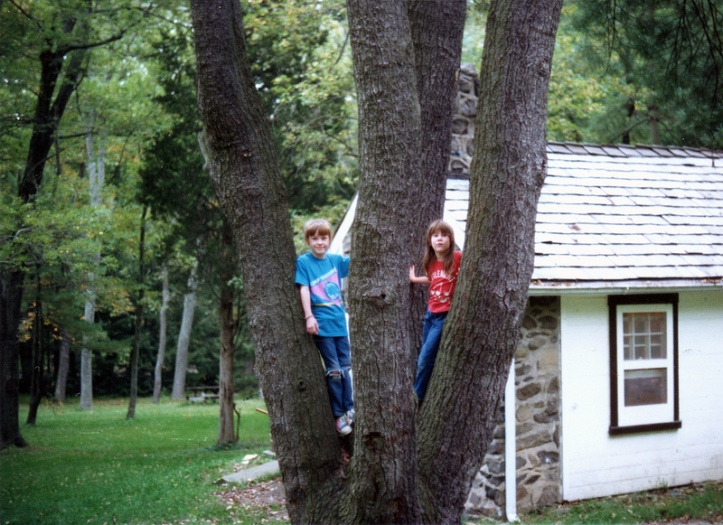 Children in tree at Ralph Stover state park, PA. Early 90s
