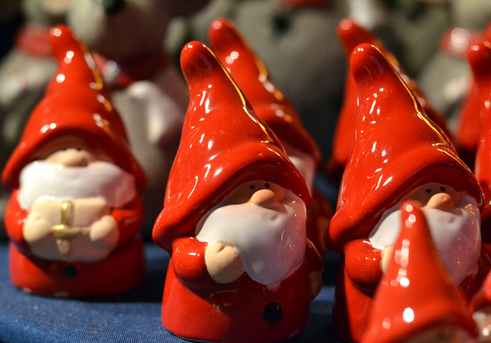 Ceramic gnomes and santas at German market