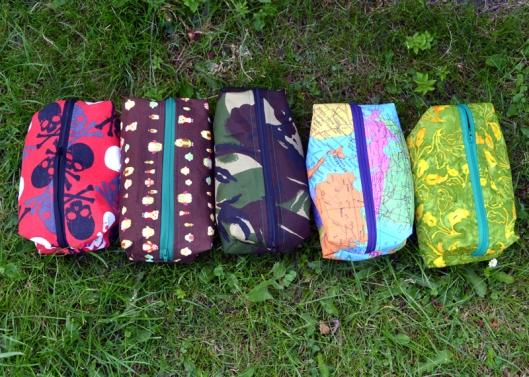Toiletry bags sewn for Christmas
