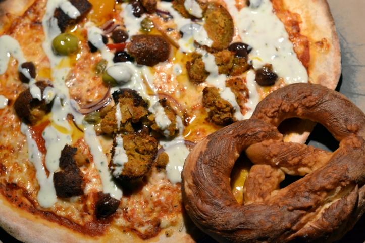 Pizza and pretzel at Bier Halle