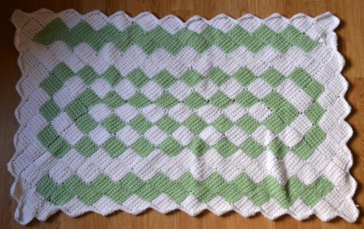Entrelac Tunisian Crochet baby blanket