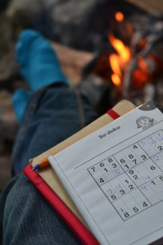 Sudoku around the campfire at Comrie Croft