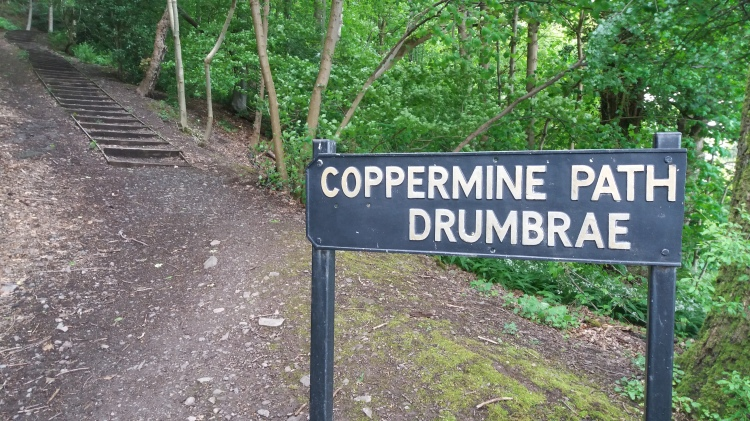 Sign for Coppermine Path to old copper mine in Mine Wood, Bridge of Allan, Scotland