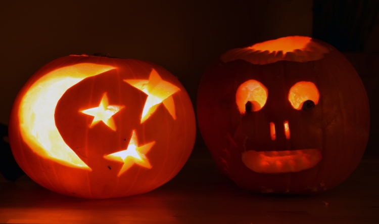 Carved Jack-o-lanterns for Halloween. Moon and stars with scarred face jack. | Riotflower's Realm